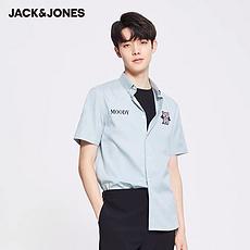杰克琼斯2020夏季冰沙蓝猫咪字母刺绣纯棉短袖衬衫