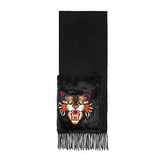 GUCCI 古馳 女士黑色憤怒的貓圖案裝飾絲綢圍巾貂皮口袋 477434-3G172-1000