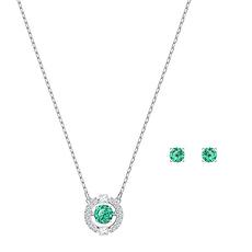 【2020新款】Swarovski 施華洛世奇 綠色 SPARKLING DC 細致閃耀項鏈+耳釘套裝 5516965 香港直郵
