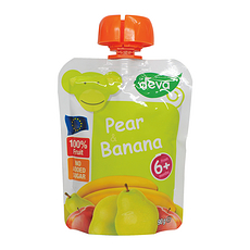 2袋装【捷克】蒂娃 香梨香蕉吸吸乐果泥 婴儿果泥蔬菜泥 90g/袋(香港直邮)