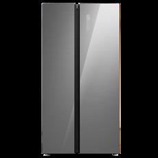 美的(Midea)550升冰箱對開門冰箱風冷無霜智能變頻家用玻璃面板BCD-550WKGPZM冰川銀 淺灰色