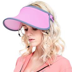 韓國 VVC 正品夏季遮陽帽出游戶外太陽帽防曬帽子女遮臉防紫外線女神帽 玫紅色