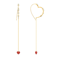 【19年新款】Swarovski 施华洛世奇 女士玫瑰金设计红色心形吊饰穿孔耳环 5455568