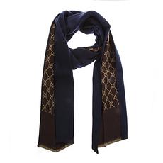 GUCCI 古馳 男士雙面羊毛圍巾 521104-4G744-4000 深藍色/棕色 米色