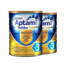 2罐裝【新西蘭】愛他美 Aptamil 金裝嬰幼兒奶粉3段(1-2周歲) 900g 保稅倉發貨