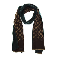 GUCCI 古馳 男士雙面羊毛圍巾 521104-4G744-3100 綠色/棕色 米色