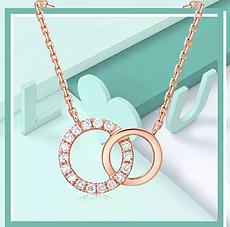 新世界店 周大福18K金钻石项链 小心意甜甜圈:给一点甜甜的爱,把你我的生活圈起来