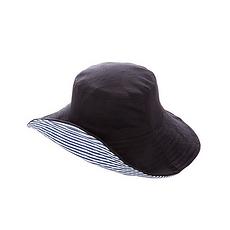 日本 UVCUT 新可折疊花樣太陽帽 黑色+條紋 香港直郵