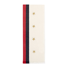 GUCCI 古馳 女士黑白紅拼色五角星圖案羊毛羊絨圍巾 477935-3G274-9068