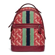 Coach 蔻馳(專柜) 女士深紅色涂層帆布雙肩包 79235V5PES 香港直郵