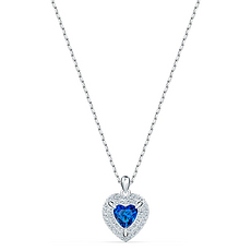 【2020新款】Swarovski 施華洛世奇 女士藍色心形項鏈 5511541 香港直郵