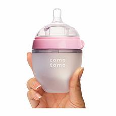韩国 可么多么 防胀气宽口硅胶奶瓶 粉色 150ml 香港直邮