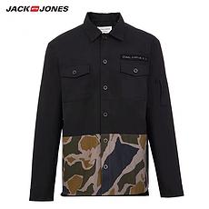 杰克琼斯2020春夏新款含棉潮酷迷彩拼接工装纽扣衬衫