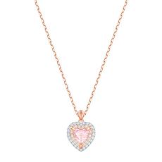 【19年新款】Swarovski 施华洛世奇 女士浪漫粉色爱心玫瑰金项链 5439314