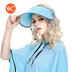 韓國 VVC 正品夏季遮陽帽出游戶外太陽帽防曬帽子女遮臉防紫外線女神帽 藍色