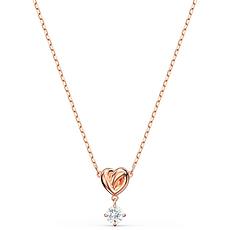 【2020新款】Swarovski 施華洛世奇 女士白色心形玫瑰金鏈條項鏈 5516542 香港直郵