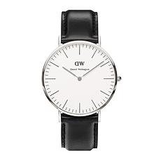 DW 丹尼尔惠灵顿 男士皮带超薄石英表DW00100020(银色40mm)(香港直邮)