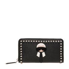 Fendi 芬迪 女士黑色铆钉装饰牛皮长款拉链钱夹 8M0299-7MP-F0V3X